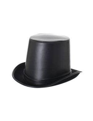 Gentleman's Deluxe Black Leather Look Adult's Top Hat
