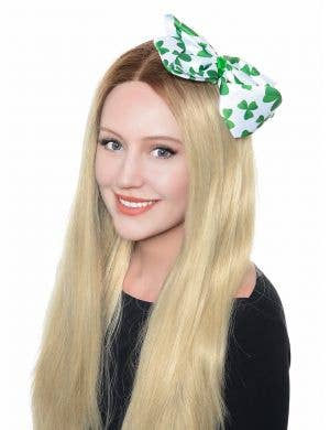 Oversized St Patricks Day Green Clover Hair Bow