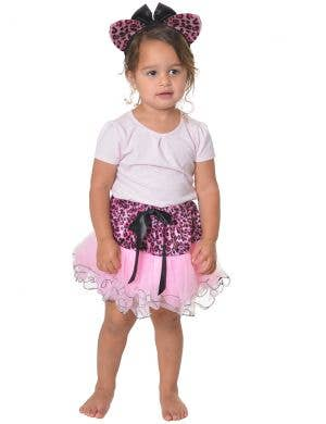 Leopard Pink and Black Toddler Tutu and Ears Costume Set