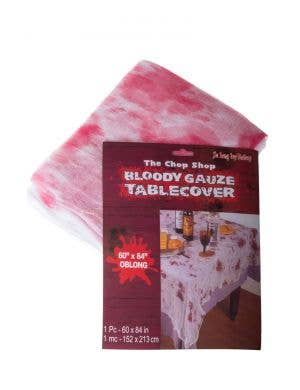 Blood Splattered White Gauze Halloween Table Cover
