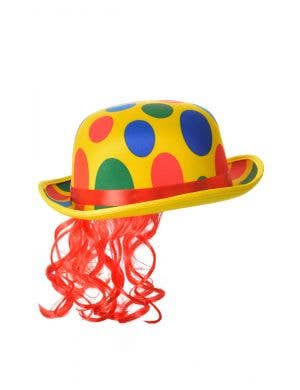 Polka Dot Yellow Clown Bowler Circus Hat with Hair