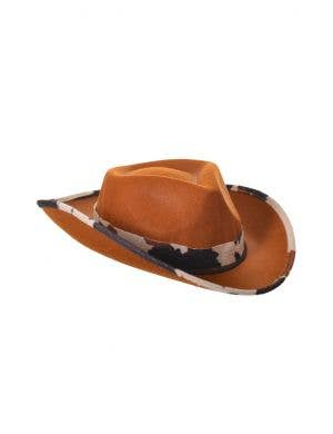 Cowboy Brown Stetson Costume Hat with Cow Print