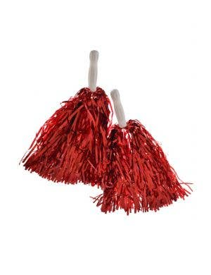 Cheerleader Spirit Metallic Red Pom Poms