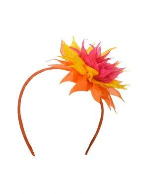 Hawaiian Orange Spiked Flower Headband Costume Accessory