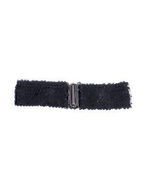 Black Sequin Stretch Belt Costume Accessory