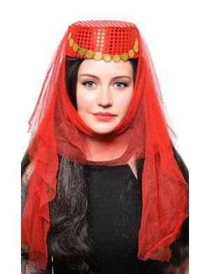 Harem Women's Red Veiled Costume Hat Accessory