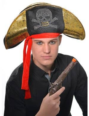 Pirate Captain Adult's Black and Gold Costume Hat