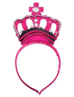 Glittery Hot Pink Jewelled Princess Crown Headband
