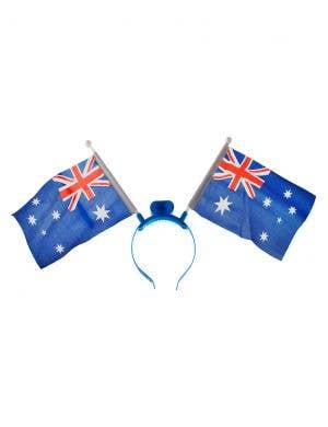 Flashing Light up Aussie Flags on Headband Australia Day Accessory