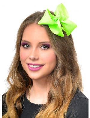 Large Neon Green Hair Bow 80's Costume Accessory