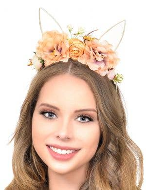 Soft Pastel Orange Floral Headpiece with Wire Bunny Ears