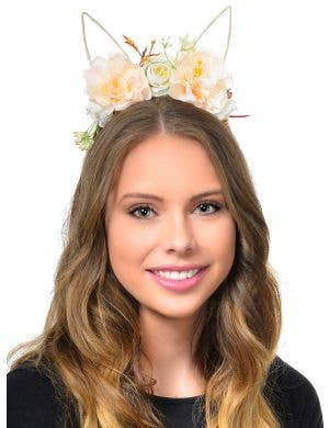 Cream Flowers on Headband with Wire Bunny Ears