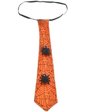 Spider Web Orange Satin Halloween Costume Neck Tie Accessory