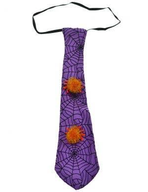 Spider Web Purple Satin Halloween Costume Neck Tie Accessory