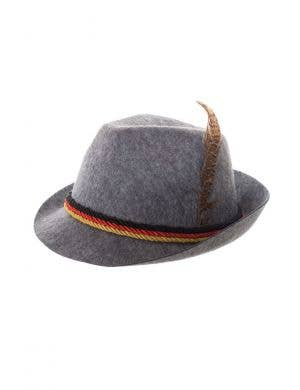 German Grey Oktoberfest Hat with Feather