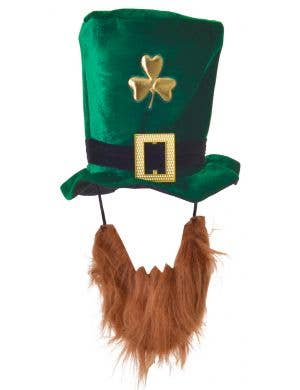 Lucky Leprechaun Green Shamrock Hat With Beard
