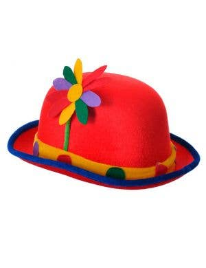 Circus Clown Bowler Costume Hat With Colourful Flower