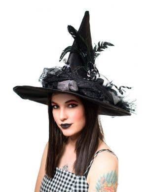 Black Halloween Women's Witch Hat With Flowers And Dolls Head Decoration Costume Accessory Main Image