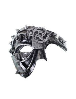 Antique Steampunk Silver Over Eye Mask