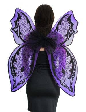 Giant Purple and Black Glitter Halloween Wings