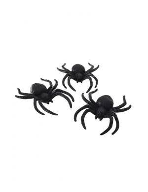 Glitter Black Spiders Halloween Decoration Pack