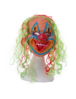 Crazy Clown With Coloured Hair Halloween Costume Mask
