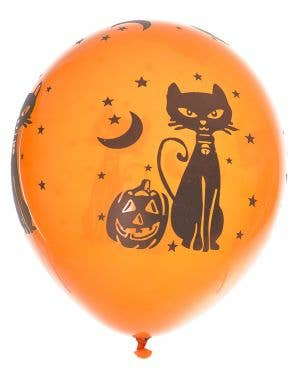 Pumpkin and Cat Orange Halloween Party Balloons - 10 Pack