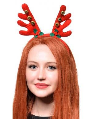 Christmas Reindeer Red Antlers with Bells Headband Accessory