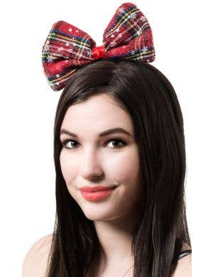 Tartan Women's Red Christmas Bow On Headband