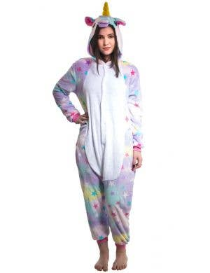 Rainbow Star Unicorn Girl's Plush Onesie Costume