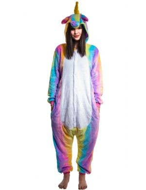 Rainbow Unicorn Women's Plush Onesie Costume