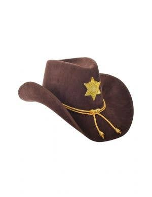 Texas Sheriff Brown and Gold Suede Look Cowboy Hat