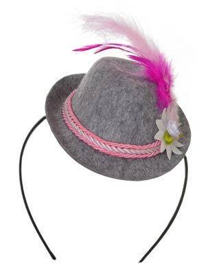 Mini Pink and Grey Oktoberfest Hat on Headband