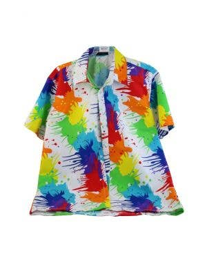 Rainbow Hawaiian Splatter Men's Costume Shirt