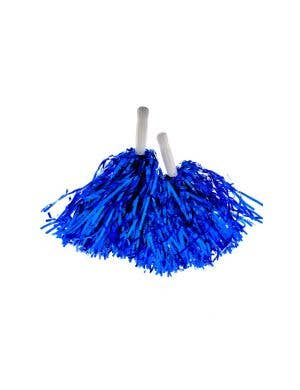 Cheerleader Metallic Blue Textured Pom Poms Costume Accessory