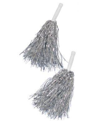 Metallic Silver Tinsel Cheerleader Pom Poms Costume Accessory