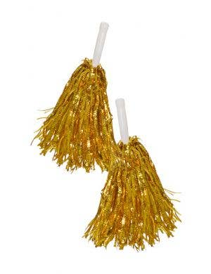 Metallic Gold Tinsel Cheerleader Pom Poms Costume Accessory