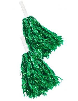 Metallic Green Tinsel Cheerleader Pom Poms Costume Accessory