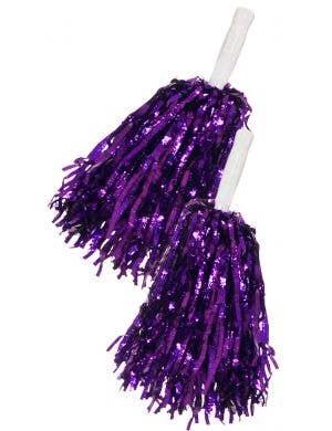 Metallic Purple Tinsel Cheerleader Pom Poms Costume Accessory