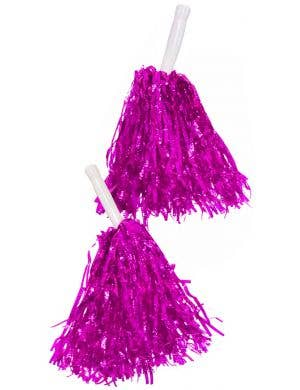 Metallic Hot Pink Tinsel Cheerleader Pom Poms Costume Accessory