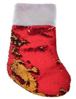 Reversible Sequins Red and Gold Christmas Stocking