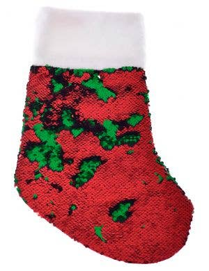 Reversible Sequins Red and Green Christmas Stocking