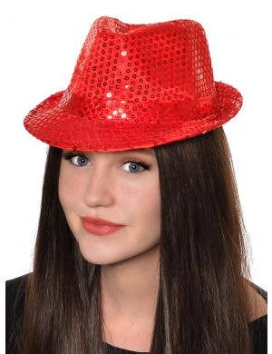 Sequined Red Adult's Fedora Hat Costume Accessory