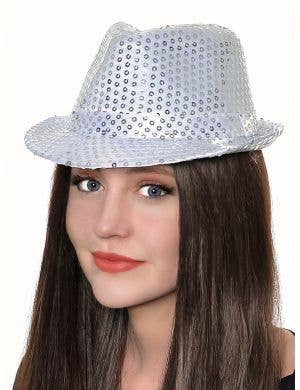 Sequined White and Silver Adult's Fedora Hat
