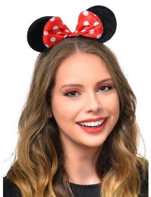 Red and White Polka Dot Minnie Mouse Ears Headband