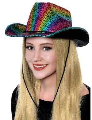 Cracked Metallic Rainbow Adult's Cowboy Costume Accessory Hat
