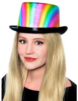Metallic Rainbow Adult's Top Hat Costume Accessory