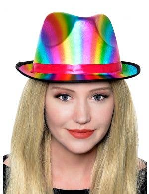 Metallic Rainbow Adult's Fedora Costume Accessory Hat