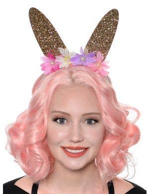 Sparkly Brown Glitter Bunny Ears on Headband