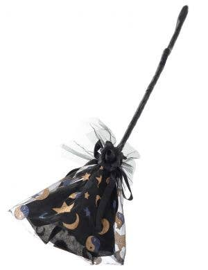 Glitter Black and Gold Witch Broom Halloween Costume Accessory